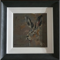 Con Campbell 'Irish Hare' Oil On Board. Framed size 40 cms x 40 cms approx.