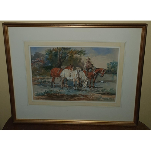 48 - A J Melville 1855 - 1904. Watercolour of a man on horse back with pack horses. 25 X W36cm approx.