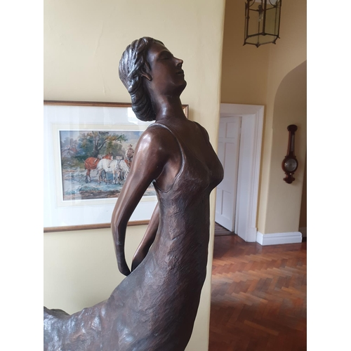 41 - A Fabulous modern Bronze of a Female with a free flowing dress on a plinth stand.