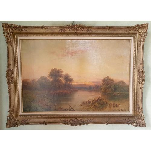 28 - Arthur De Breanski. An Oil on Canvas of a sunset river landscape. Signed LR. 51 x 76cm approx.