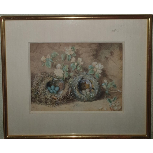 21 - Attributed to Oliver Clare. A Watercolour Still life of eggs in nest with blossom. No apparent signa...