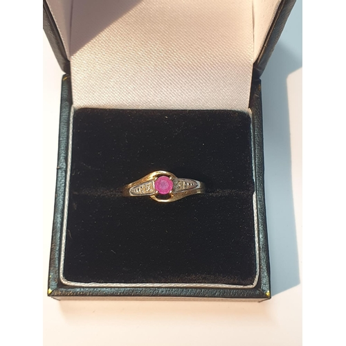 5 - 9ct gold ruby and diamond dress ring, hallmarks for Birmingham, ring size L1/2, 1.2gms.