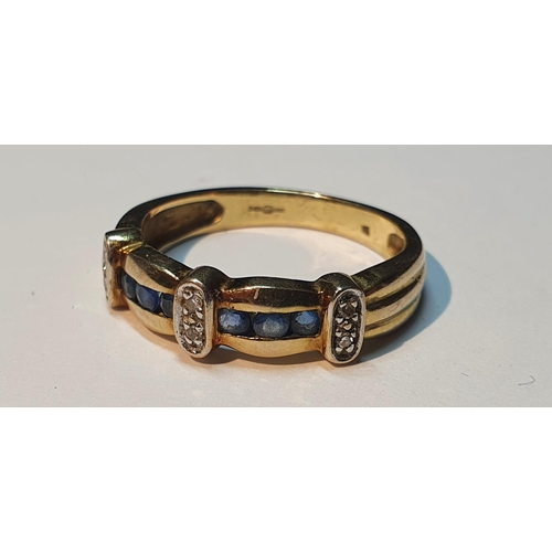 7 - 9ct gold sapphire and diamond band ring, hallmarks for London, ring size M, 2.6gms.