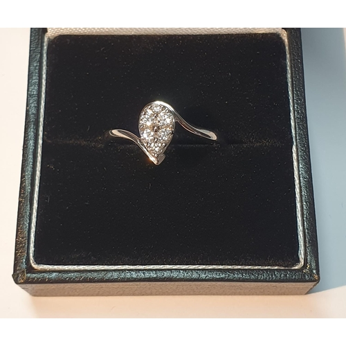 8 - An 18ct gold brilliant-cut diamond pear-shape cluster ring. Total diamond weight 0.33ct, stamped to ...