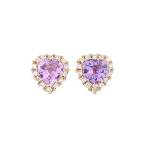 14 - A pair of pink sapphire and diamond heart-shape earrings. Total sapphire weight 0.78ct, stamped to m...