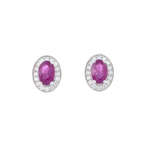 22 - A pair of 18ct gold ruby and diamond earrings. Total ruby weight 1.24cts. Total diamond weight 0.19c...