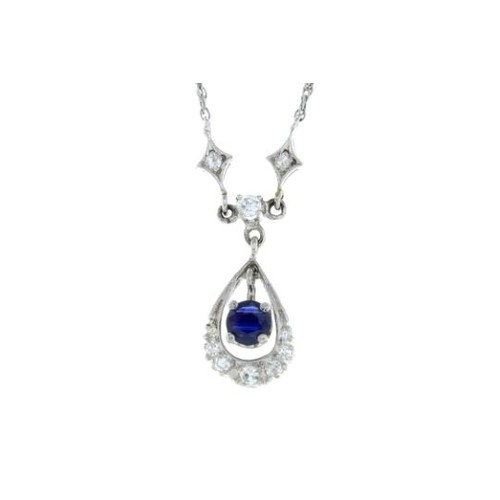 23 - A sapphire and single-cut diamond necklace. Stamped 14K.Length 38.5cms. 3.1gms.