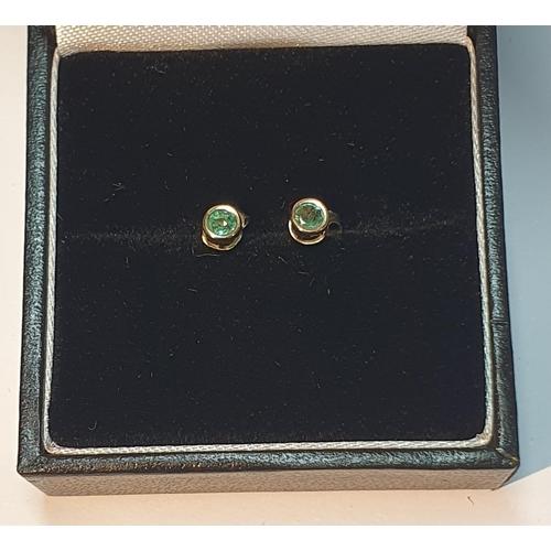 26 - Green beryl stud earrings, diameter 0.3cm, 0.2gm.