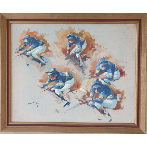 16 - An Oil on Board by Peter Curling b 1955 'Collage of Jockeys up ( Pat Eddery)'. Signed LR. 40 x 50cm ...