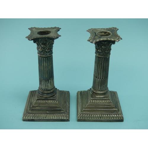 13 - A pair of late Victorian silver 'Corinthian Column' Candlesticks, by William Hutton & Sons, hallmark...