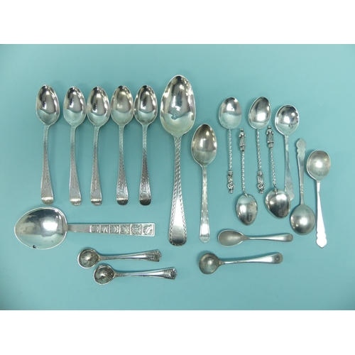 22 - A quantity of mixed silver Spoons, approx total weight 3.9ozt, together with a small quantity of sil...