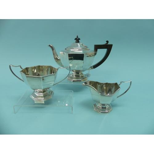 23 - A stylish George V silver three piece Tea Set, by Fergenbaum & Son, hallmarked Birmingham, 1922, of ...
