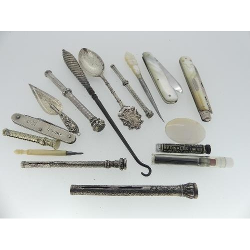 7 - A collection of small Items, including a bookmark in the form of a trowel, fruit knife with mother o...