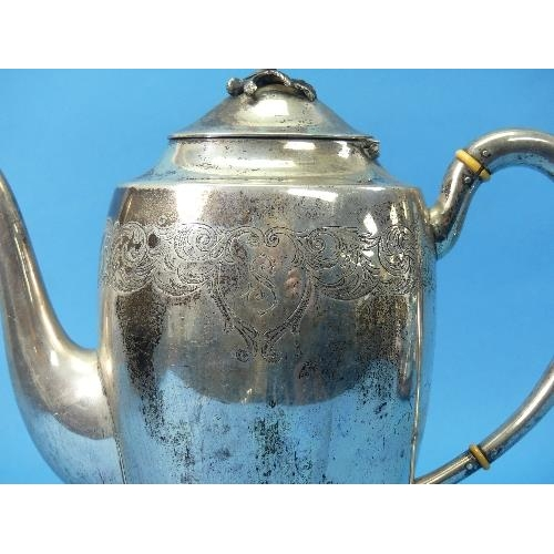 1 - A Swedish silver Teapot, by Karl Anderson, hallmarked Stockholm, 1934, of tall ovoid form, the plain...