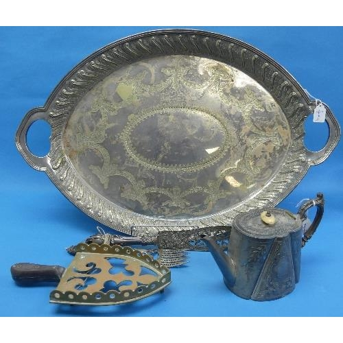 17 - A large quantity of Silver Plate, including two handled tray, salver, tea sets, tea caddy, wine funn...