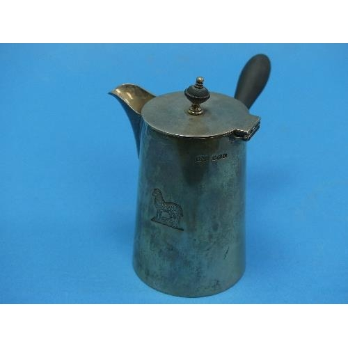 18 - A small George V silver Chocolate Pot, by James Dixon & Sons Ltd., hallmarked Sheffield, 1929, of pl...