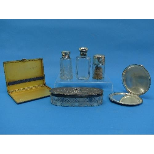 23 - A George VI silver Cigarette Case, hallmarked Birmingham, 1945, of hinged rectangular form with engi...