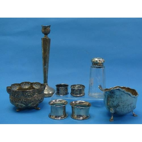 24 - A quantity of Damaged / Scrap Silver, including capstan inkwell, four napkin rings, sauce boat, hand...