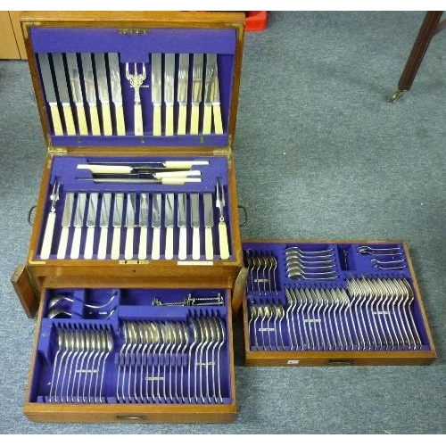 25 - A Christopher Johnson & Co (Sheffield) 107-piece part-canteen of silver-plated cutlery, including kn...