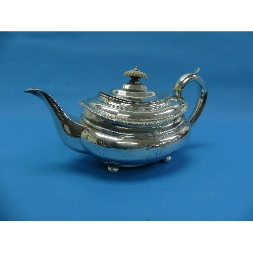 35 - A George IV silver Teapot, by Rebecca Emes & Edward Barnard, hallmarked London, 1824, of ovoid form ...