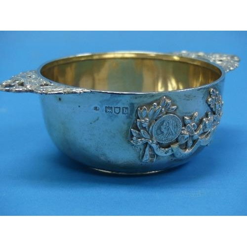 37 - A Victorian commemorative silver Bowl, by Charles Edwards, hallmarked London 1897, with applied silv...