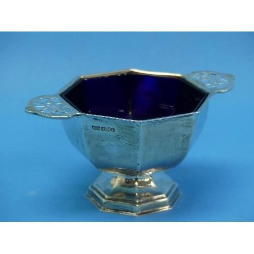 38 - A George VI silver Sugar Bowl, by Walker & Hall, hallmarked Sheffield, 1937, of octagonal form, with...