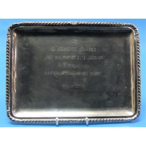 46 - A Continental 800 silver Rectangular Tray, with gadrooned rim, the centre with engraved Spanish pres...