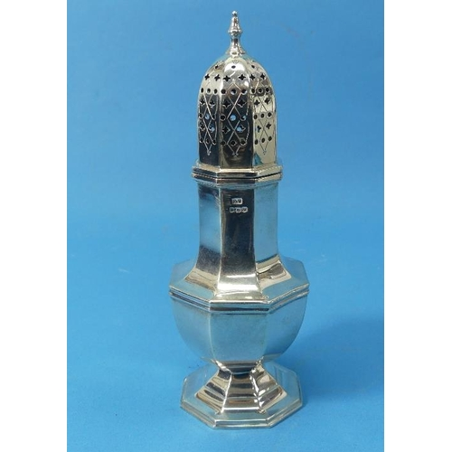50 - A George VI silver Sugar Caster, by Viner's Ltd., hallmarked Sheffield, 1939, of octagonal form, the...