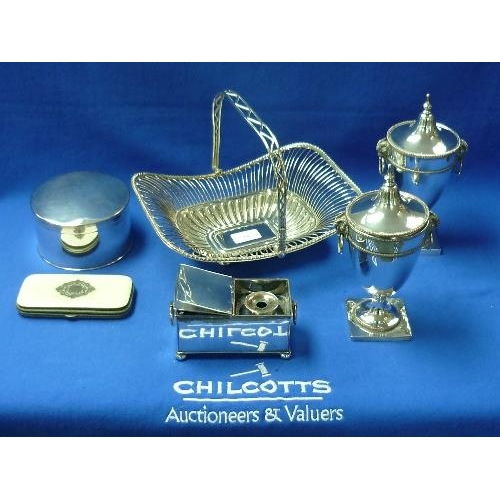 54 - A quantity of good Silver Plate, including ink stand, swing handled basket, Entree dishes, a pair of...