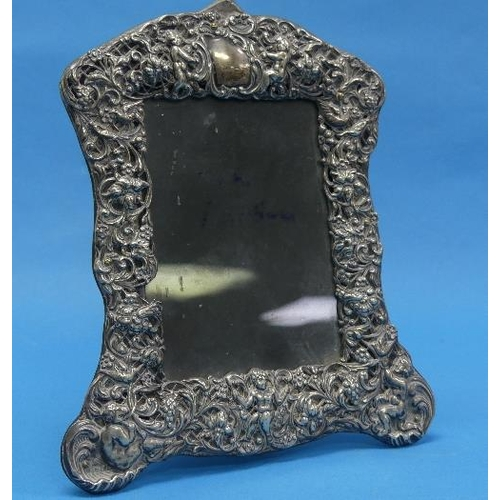 56 - An Edwardian silver mounted Easel Frame, by William Comyns & Sons, hallmarked London, 1901, with put...