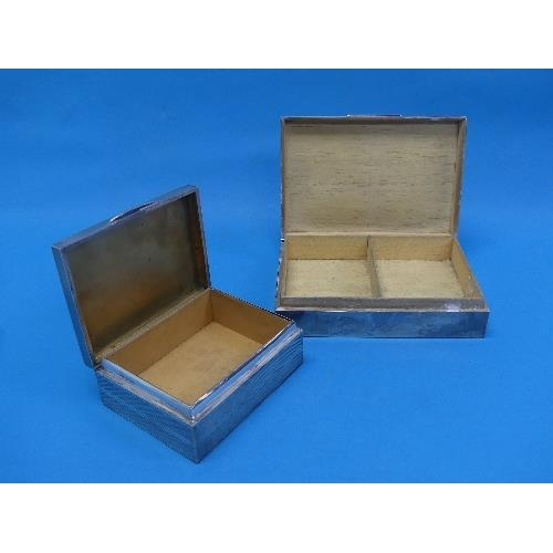 60 - A George V silver Cigarette box, by John Collard Vickery, hallmarked Chester, 1914, of hinged rectan...