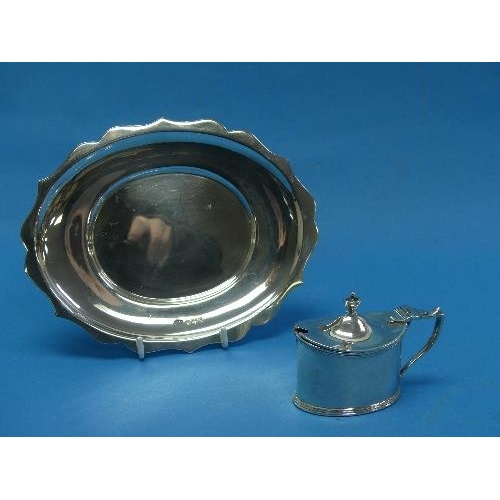 7 - A Victorian silver Mustard Pot, by Haseler Brothers, hallmarked London, 1893, of plain oval form wit...