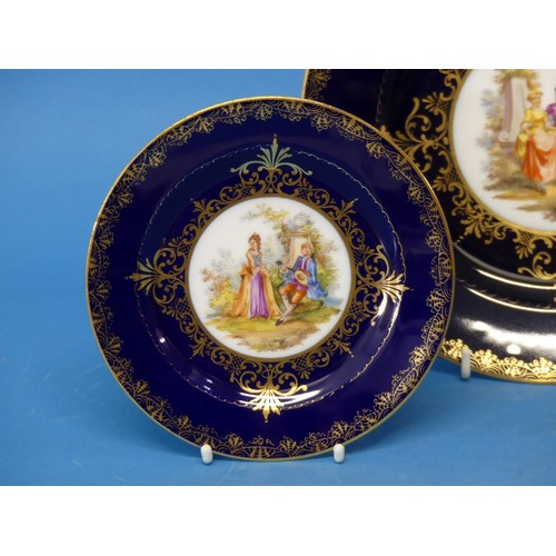 1 - A large Vienna Porcelain Plate, together with two others, finely decorated with central classical sc...