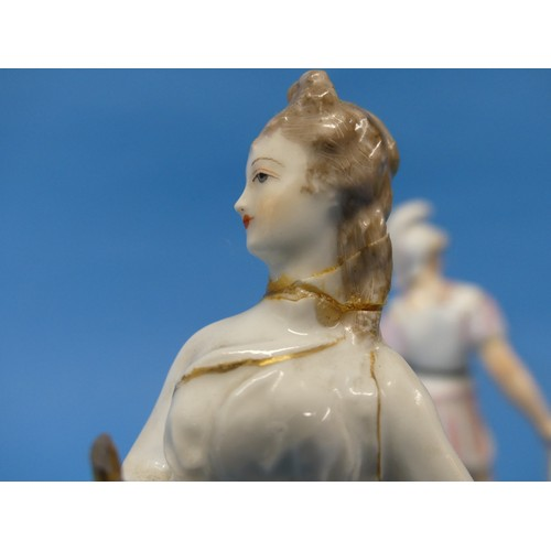 8 - A pair of Continental porcelain Figures,one depicted as a soldier, one repaired, with crossed lines...