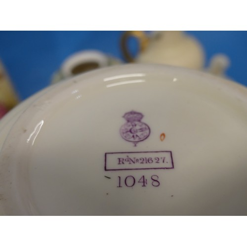 30 - A Royal Worcester Blush Ivory Squat Jug,with stylised flowers, shape 1048, together with a Blush Iv...