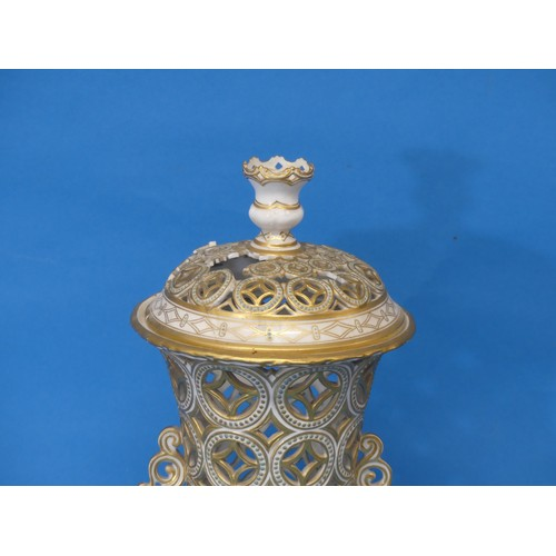 35 - A rare early 20thC Royal Crown Derby reticulated Urn,the twin-handled body, decorated in gilt bands...