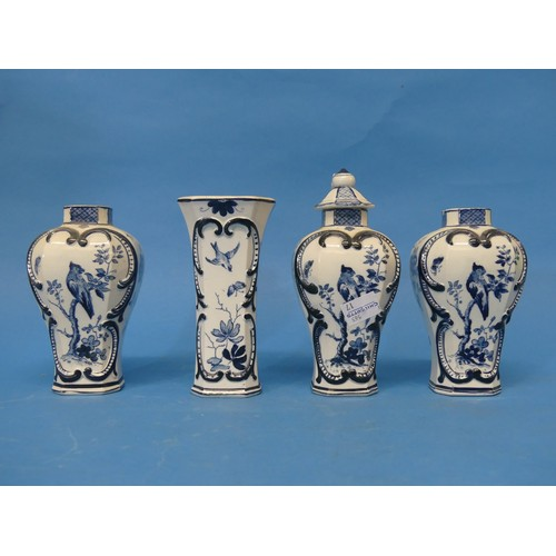 39 - An antique Chinese-style Blue and White Vase and Cover,marked V&B, probably Villeroy and Boch, ...