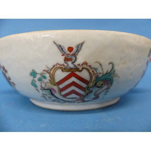 41 - An 18thC Chinese Export Armorial porcelain Soup Tureen,decorated with gilt floral sprays, with gild...