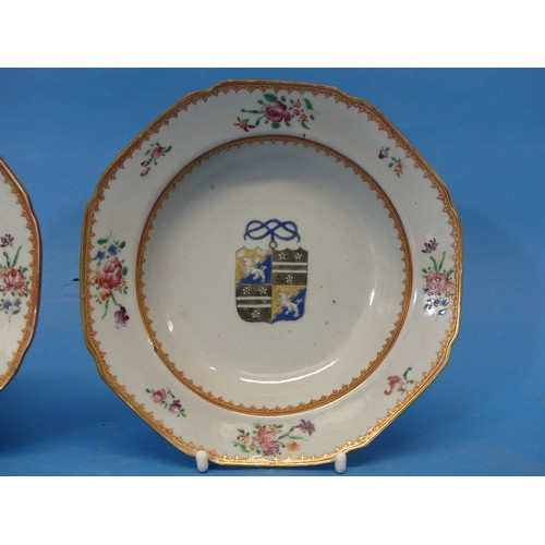 42 - A pair of 18thC Chinese Export Armorial Porcelain Plates,of octagonal form, banded with red and gil...