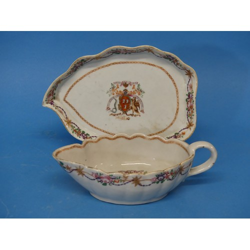 43 - An 18thC Chinese Export Armorial Porcelain Sauce Boat and Saucer,bearing the crest of theScottish ...