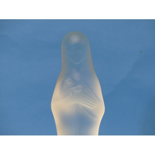 45 - A 1920s Leerdam Frosted Glass figure of Madonna and Child,signed GSUL 9½in (24cm) tall...