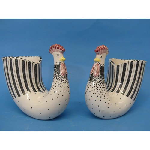 46 - A pair of Rye Pottery Cockerel Vases, decorated in black and white dots and lines, with studio marks...