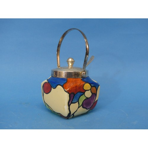 47 - A Clarice Cliff 'Patchwork Leaves' Preserve Pot,the plated handled lid and spoon, with body decorat...