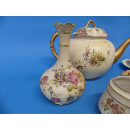 29 - A small quantity of Royal Worcester Blush Ivory;comprising a Tea Cup, Saucer and Plate, together wi...