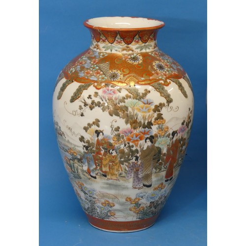 31 - A pair of large 19thC Japanese Kutani Vases,the orange ground decorated with panels depicting peopl...