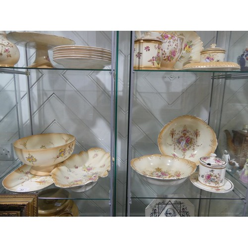 53 - A large quantity of Crown Devon in Blush Ivory style, comprising three Jugs (graduated in size), Bis...