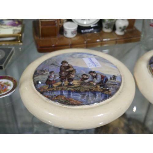 5 - A quantity of Mixed Ceramics, including two Victorian Potlids, a Portmeirion 'Fireplace Teapot' (Sec...