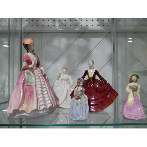 14 - A small quantity of porcelain Ladies,including Coalport and Adderley etc (5)