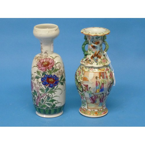 38 - An early 20thC Chinese Famille Rose Vase, the vase in typical decoration, with lizards in relief to ...