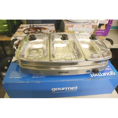 48 - BOXED GOURMET TRIPLE BUFFET SERVER AND WARMING TRAY...